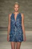 NEW YORK, NY - SEPTEMBER 06: A model walks the runway at the Son Jung Wan Spring 2015 fashion show Stock Image