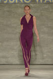 NEW YORK, NY - SEPTEMBER 06: A model walks the runway at the Son Jung Wan Spring 2015 fashion show Stock Photos