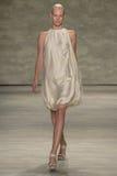 NEW YORK, NY - SEPTEMBER 06: A model walks the runway at the Son Jung Wan Spring 2015 fashion show Royalty Free Stock Photo