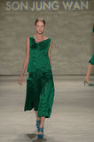 NEW YORK, NY - SEPTEMBER 06: A model walks the runway at the Son Jung Wan Spring 2015 fashion show Stock Photography
