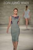 NEW YORK, NY - SEPTEMBER 06: A model walks the runway at the Son Jung Wan Spring 2015 fashion show Stock Photo