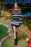 NEW YORK, NY - SEPTEMBER 08: A model walks the runway at Tommy Hilfiger Women's fashion show Stock Images