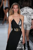 NEW YORK, NY - SEPTEMBER 07: A model walks the runway at the Versus Versace Spring 2015 Collection Royalty Free Stock Images