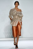 NEW YORK, NY - SEPTEMBER 05: Model Zhenya Katava walks the runway at the Zimmermann fashion show Stock Photography
