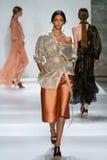 NEW YORK, NY - SEPTEMBER 05: Model Zhenya Katava walks the runway at the Zimmermann fashion show Royalty Free Stock Photos