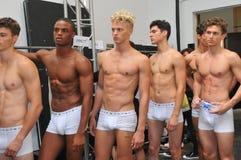 NEW YORK, NY - 6. SEPTEMBER: Modelle werfen Bühne hinter dem Vorhang an der Modeschau 2014 Parke u. Ronen Springs auf Stockbild