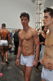 NEW YORK, NY - SEPTEMBER 06: Models pose backstage at the Parke & Ronen Spring 2014 fashion show Royalty Free Stock Photos
