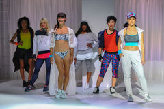 NEW YORK, NY - SEPTEMBER 03: Models pose on the runway during the Athleta  Runway show Stock Photography