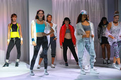 NEW YORK, NY - SEPTEMBER 03: Models pose on the runway during the Athleta Runway show. During Mercedes-Benz Fashion Week Spring 2015 at SIR Stage on September 3 royalty free stock image