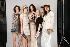 NEW YORK, NY - SEPTEMBER 06:  Models and shoe designer poses at the Sergio Davila fashion presentation Stock Images