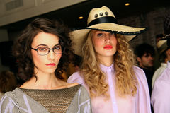 NEW YORK, NY - SEPTEMBER 06: Models showing hats and accessories at the Sergio Davila fashion presentation. During Spring 2014 Mercedes-Benz Fashion Week on Royalty Free Stock Image