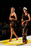 NEW YORK, NY - SEPTEMBER 04: Models tossing petals to the runway at Desigual Spring 2015 fashion show Royalty Free Stock Photography