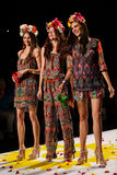NEW YORK, NY - SEPTEMBER 04: Models tossing petals to the runway at Desigual Spring 2015 fashion show Royalty Free Stock Photo