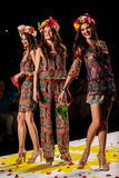 NEW YORK, NY - SEPTEMBER 04: Models tossing petals to the runway at Desigual Spring 2015 fashion show Royalty Free Stock Photos