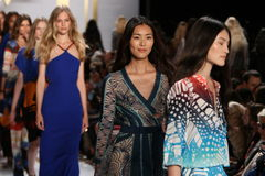 NEW YORK, NY - SEPTEMBER 08: Models walk the runway finale during the Diane Von Furstenberg fashion show Stock Photo