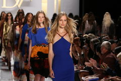 NEW YORK, NY - SEPTEMBER 08: Models walk the runway finale during the Diane Von Furstenberg fashion show