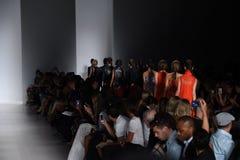 NEW YORK, NY - SEPTEMBER 04: Models walk the runway finale at the Marissa Webb fashion show Royalty Free Stock Image