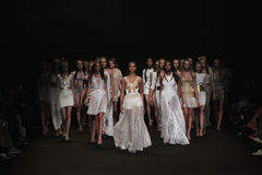 NEW YORK, NY - SEPTEMBER 04: Models walk the runway finale at the Meskita fashion show Stock Images