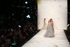 NEW YORK, NY - SEPTEMBER 05: Models walk the runway finale at Monique Lhuillier Royalty Free Stock Photo