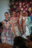 NEW YORK, NY - SEPTEMBER 09: Models walk the runway finale at the Oscar De La Renta fashion show Royalty Free Stock Image