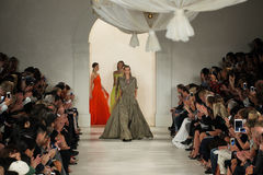 NEW YORK, NY - SEPTEMBER 11: Models walk the runway finale at Ralph Lauren Spring 2015 fashion collection Stock Image