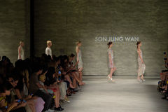 NEW YORK, NY - SEPTEMBER 06: Models walk the runway finale at the Son Jung Wan Spring 2015 fashion show Stock Image