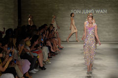 NEW YORK, NY - SEPTEMBER 06: Models walk the runway finale at the Son Jung Wan Spring 2015 fashion show Stock Photography