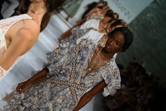 NEW YORK, NY - SEPTEMBER 05: Models walk the runway finale at the Zimmermann fashion show Stock Photography