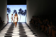 NEW YORK, NY - SEPTEMBER 05: Models walks the runway at Nicole Miller Spring 2015 fashion show Royalty Free Stock Photo