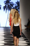 NEW YORK, NY - SEPTEMBER 05: Models walks the runway at Nicole Miller Spring 2015 fashion show Stock Image
