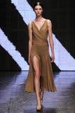 NEW YORK, NY - 08 SEPTEMBER: Modelstephanie joy field loopt de baan bij de modeshow van Donna Karan Spring 2015 Stock Afbeeldingen