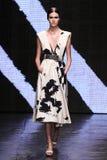 NEW YORK, NY - 08 SEPTEMBER: Modelvanessa moody loopt de baan bij de modeshow van Donna Karan Spring 2015 stock afbeeldingen