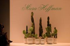NEW YORK, NY - SEPTEMBER 06: Runway background at the Mara Hoffman Spring-Summer 2015 Collection Stock Photos