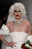 NEW YORK, NY - SEPTEMBER 10: Sharon Needles walks the runway at the Betsey Johnson fashion show Stock Images