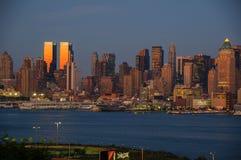 NEW YORK NY - SEPTEMBER 15, 2016: Sikt av MidtownManhattan horisont Arkivfoto