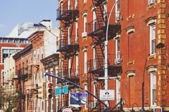 Detail of buildings in the 1 Avenue in Manhattan Stock Images