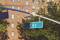 Detail of buildings  and road sign of the 1 Avenue in Manhattan Royalty Free Stock Image