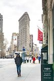 New York, NY / United States - Feb. 27, 2019: Vertical view looking down Fifth Avenue at Flatiron Building stock photo