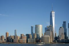 New York, NY / United States-Jan. 11, 2019 - Landscape shot of the World Trade Center. Close of shot of the World Trade Center and lower Manhattan stock images