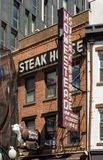 New York, NY / United States - July 19, 2016: Vertical shot of New York City`s oldest and famous Homestead Steakhouse. Vertical image of Manhattan`s oldest stock images