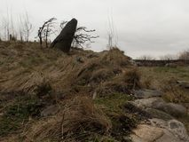 New York, NY / United States - Mar. 15, 2106: Landscape view of the Irish Hunger Memorial stock image
