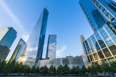 Free New York ,ny,usa,8-31-17: World Trade Center  At Sunset With Reflection In Memorial Fountain ,new York,usa Stock Photo - 181361750