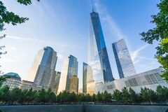 Free New York ,ny,usa,8-31-17: World Trade Center  At Sunset With Reflection In Memorial Fountain ,new York,usa Royalty Free Stock Photo - 181361785