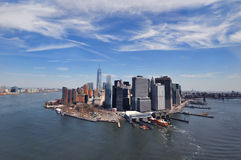 NEW YORK, NY, USA: Aerial View of the Downtown Manhattan in New York. Manhattan is a major commercial, economic, and cultural center of the United States Royalty Free Stock Image