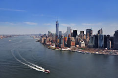 NEW YORK, NY, USA: Aerial View of the Downtown Manhattan in New York. Manhattan is a major commercial, economic, and cultural cent stock photo