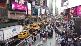 New York, NY, USA. Close up of thousands of people walking in Time Square, Broadway and on the seventh Avenue
