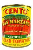 New York NY, USA December 2, 2014 Closeup av en can av San Marzano tomater Royaltyfri Fotografi
