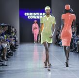 Christian Cowan FW 2019. New York, NY, USA - February 12, 2019: A model walks runway for Christian Cowan Fall/Winter 2019 collection during New York Fashion Week stock image