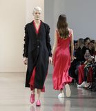 Noon by Noor FW 2018. New York, NY, USA - February 8, 2018: A model walks runway for the Noon by Noor Fall/Winter 2018 runway show during New York Fashion Week stock photos