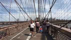 New York, NY, USA. Gopro 4K Hyper lapse walking along the Brooklyn bridge in a wonderful summer day. Walking from Manhattan to Brooklyn stock video